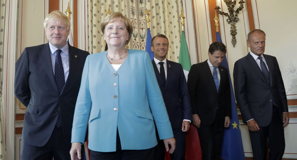 From left: Britain's Prime Minister Boris Johnson, German Chancellor Angela Merkel, French President Emmanuel Macron, Italian Premier Giuseppe Conte and President of the European Council Donald Tusk pose during a G7 coordination meeting with the Group of Seven European members at the Hotel du Palais in Biarritz, south-west France, on Saturday 24 August 2019.