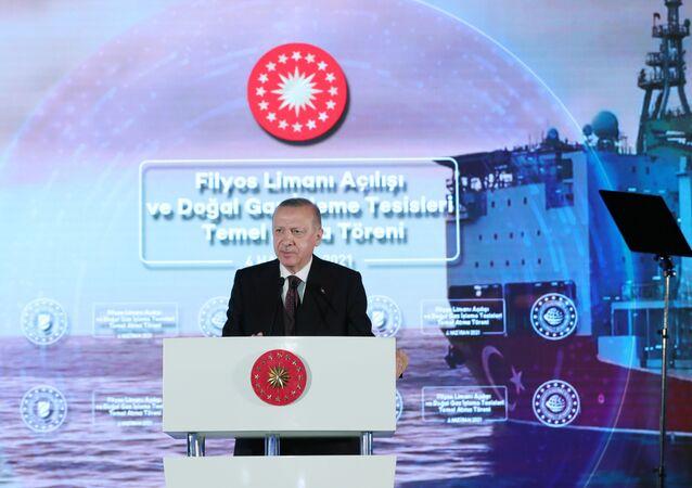 Turkish President Tayyip Erdogan speaks during the opening ceremony of Filyos port in the Black Sea city of Zonguldak, Turkey June 4, 2021