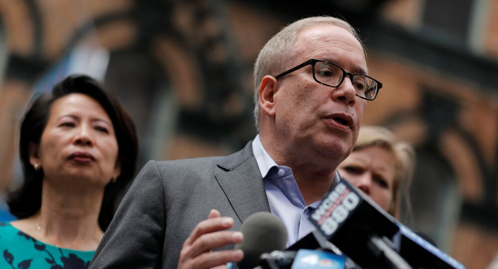 Democratic candidate for New York City Mayor Scott Stringer speaks during a rally against Asian hate crime following the May 31, 2021 unprovoked attack on another Asian person, a 55 year old woman, in Manhattan's Chinatown district in New York City, U.S. June 2, 2021