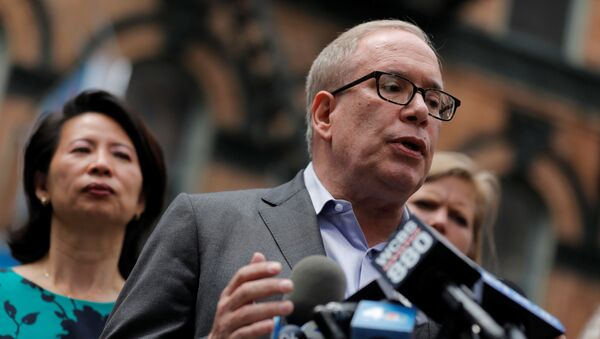 Democratic candidate for New York City Mayor Scott Stringer speaks during a rally against Asian hate crime following the May 31, 2021 unprovoked attack on another Asian person, a 55 year old woman, in Manhattan's Chinatown district in New York City, U.S. June 2, 2021 - Sputnik International