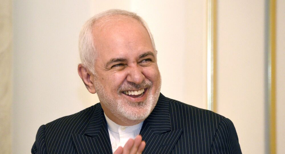 Iranian Foreign Minister Mohammad Javad Zarif gestures during a meeting with the acting Armenian PM in Yerevan on 26 May 2021.