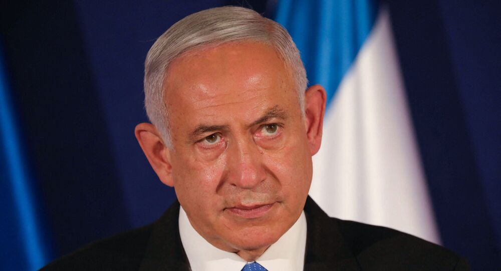 In this file photo taken on 11 March 2021, Israeli Prime Minister Benjamin Netanyahu speaks during a joint press conference with his Hungarian and Czech counterparts in Jerusalem