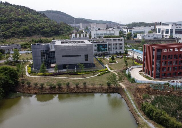 An aerial view shows the P4 laboratory (L) at the Wuhan Institute of Virology in Wuhan in China's central Hubei province on April 17, 2020