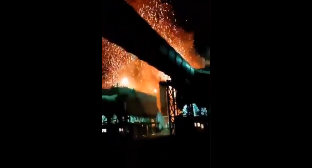 Screenshot from a video allegedly showing an explosion at a steel factory in the Iranian city of Zarand