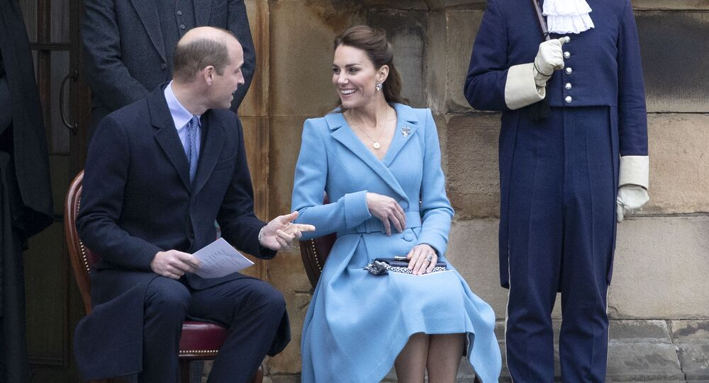 Britain's Prince William, Duke of Cambridge and Britain's Catherine, Duchess of Cambridge attend a Beating Retreat by The Massed Pipes and Drums of the Combined Cadet Force in Scotland at the Palace of Holyroodhouse in Edinburgh, Scotland on May 27, 2021, the final day of their week-long visit to the country