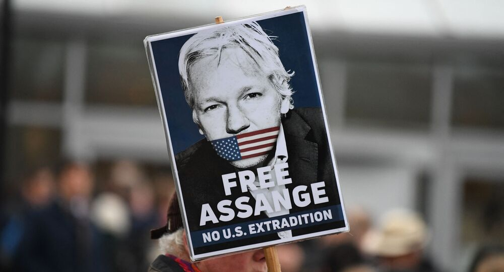 A supporter of WikiLeaks founder Julian Assange holds a placard calling for his freedom outside Woolwich Crown Court and HMP Belmarsh prison in southeast London on February 24, 2020, ahead of the opening of the trial to hear a US request for Assange's extradition