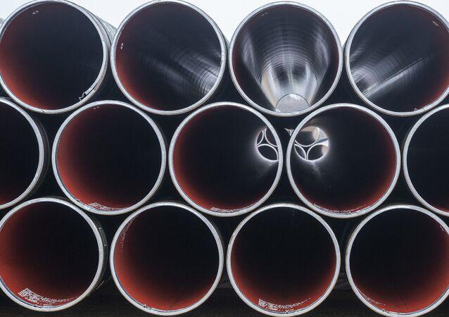 Pipes for the Baltic Pipe gas pipeline are stacked at Houstrup Strand, near Noerre Nebel, Jutland, Denmark, on February 23, 2021