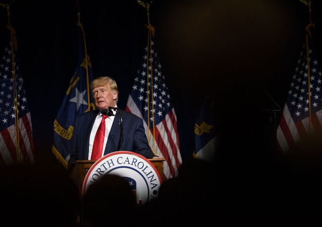 Former U.S. President Donald Trump addresses the NCGOP state convention on June 5, 2021 in Greenville, North Carolina. The event is one of former U.S. President Donald Trumps first high-profile public appearances since leaving the White House in January.