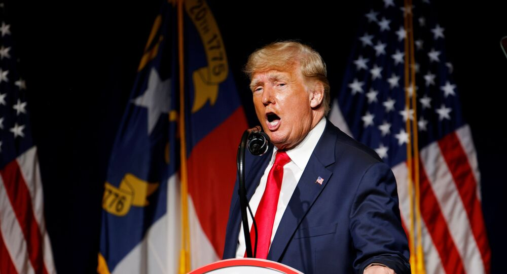 Former U.S. President Donald Trump speaks at the North Carolina GOP convention dinner in Greenville, North Carolina, U.S. June 5, 2021.