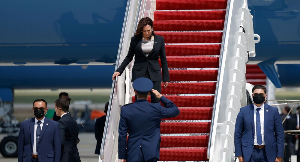 U.S. Vice President Kamala Harris gets off the Air Force Two, after technical difficulties that made her change planes for her first international trip as Vice President to Guatemala and Mexico, at Joint Base Andrews, Maryland, U.S., June 6, 2021