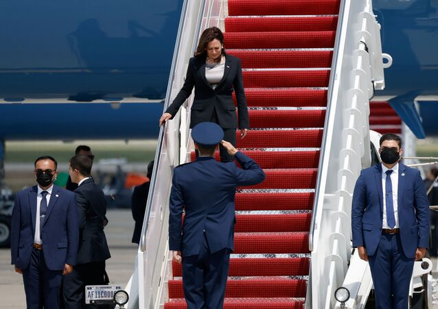 US Vice President Kamala Harris gets off the Air Force Two, after technical difficulties that made her change planes for her first international trip as Vice President to Guatemala and Mexico, at Joint Base Andrews, Maryland, 6 June 2021