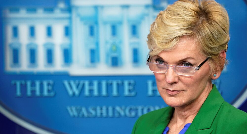 U.S. Energy Secretary Jennifer Granholm listens to a question during a press briefing about the Colonial Pipeline cyberattack shutdown, at the White House in Washington, U.S., May 11, 2021