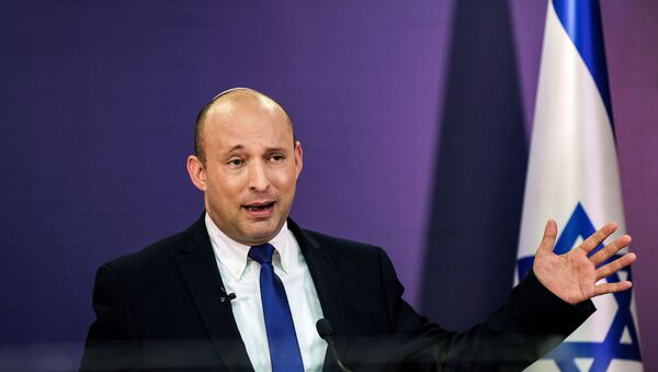 Naftali Bennett, Israeli parliament member from the Yamina party, gestures as he gives a statement at the Knesset, Israel's parliament, in Jerusalem, June 6, 2021 - Sputnik International