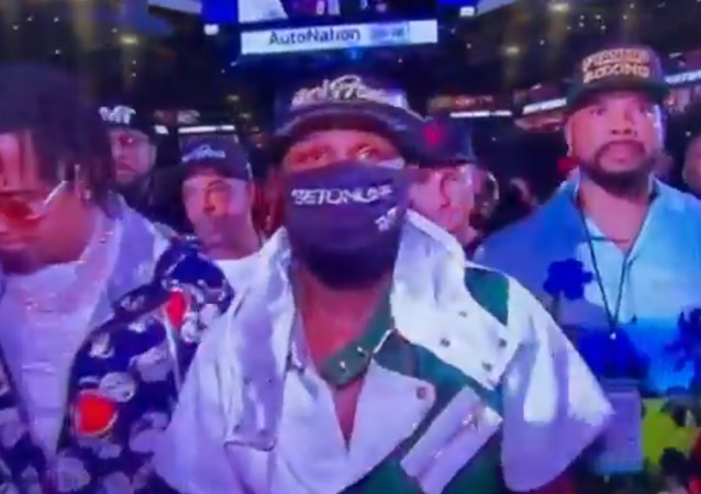 Screenshot from a video showing Floyd Mayweather wearing an OnlyFans hat before the fight with Logan Paul
