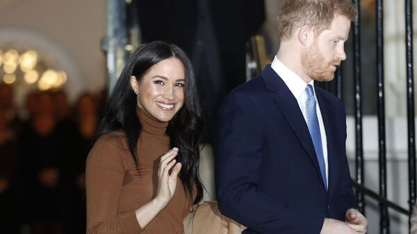 In this 7 January 2020 file photo, Britain's Prince Harry and Meghan, Duchess of Sussex, leave after visiting Canada House in London. - Sputnik International