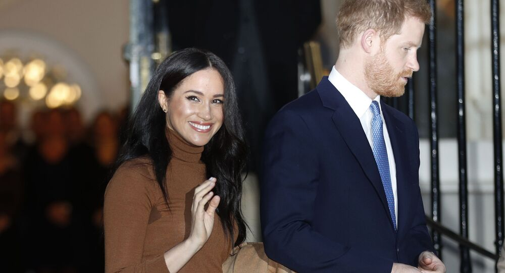 In this Jan. 7, 2020, file photo, Britain's Prince Harry and Meghan, Duchess of Sussex leave after visiting Canada House in London, after their recent stay in Canada