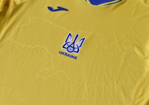 A picture taken on June 6, 2021 shows a EURO 2020 jersey of the Ukrainian national football team.