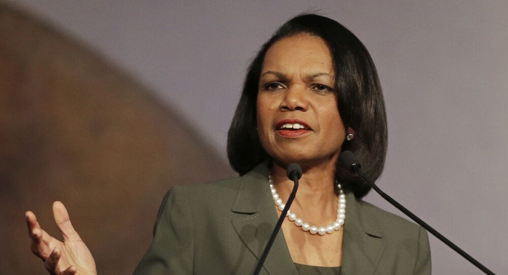 In this March 15, 2014 file photo, former Secretary of State Condoleezza Rice gestures while speaking at the California Republican Party 2014 Spring Convention in Burlingame, Calif