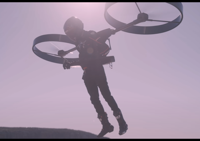 A screenshot from CopterPack manned flight tests video posted on YouTube.