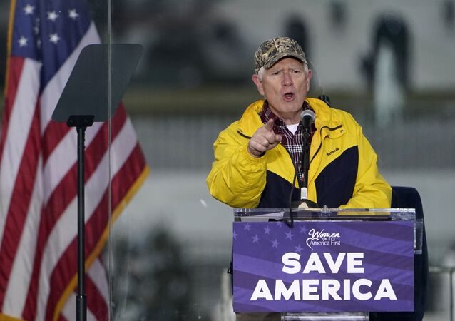 FILE - In this Jan. 6, 2021 file photo, Rep. Mo Brooks, R-Ark., speaks in Washington, at a rally in support of President Donald Trump called the Save America Rally. Brooks, teasing the announcement of a possible run for U.S. Senate, has scheduled a campaign rally on Monday, March 22, 2021, where he will be joined by former President Donald Trump adviser Stephen Miller.