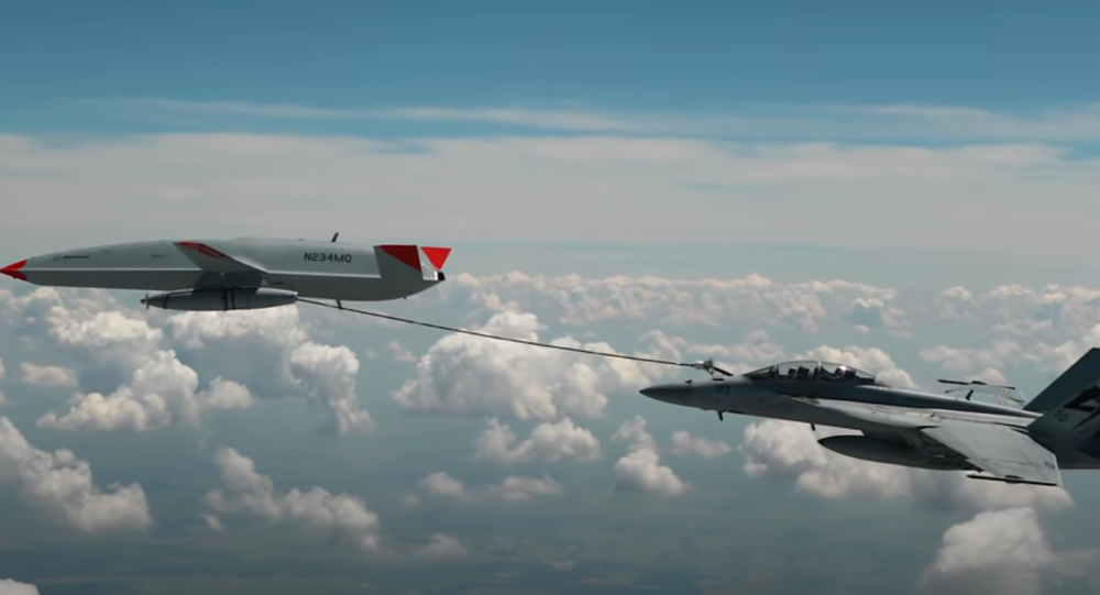 The MQ-25 T1 test asset has flown into the history books as the first unmanned aircraft to ever refuel another aircraft - piloted or autonomous - during flight. During this June 2021 flight test, the #MQ25 T1 test asset transferred fuel to an F/A-18 Super Hornet. After additional flight tests, this unmanned aerial refueling test asset will head to a U.S. Navy carrier for deck handling trials.