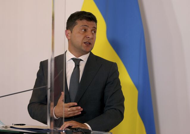 President of Ukraine Volodymyr Zelensky addresses the media at a joint press conference with Austrian Chancellor Sebastian Kurz after their meeting at the federal chancellery in Vienna, Austria, Tuesday, Sept. 15, 2020.