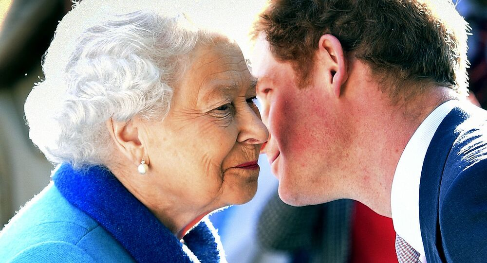 Britain's Queen Elizabeth  greets her grandson Prince Harry at the Royal Horticultural Society Chelsea Flower Show 2015 in London, 18 May 2015
