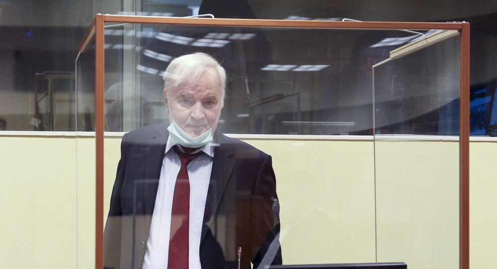 Bosnian Serb ex-general Ratko Mladic, who has been sentenced to life imprisonment, pictured at the international UN tribunal in The Hague where he is appealing his conviction, on August 25, 2020.