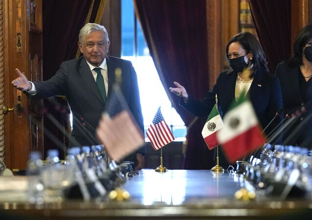US Vice President Kamala Harris and Mexican President Andres Manuel Lopez Obrador gesture as they arrive for a bilateral meeting Tuesday, June 8, 2021, at the National Palace in Mexico City.