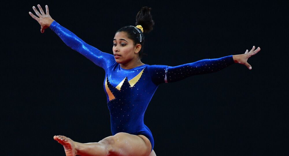 Dipa Karmakar of India performs on the floor during the Women's All-Around final of the Artistic Gymnastics event during the 2014 Commonwealth Games in Glasgow, Scotland, on July 30, 2014.