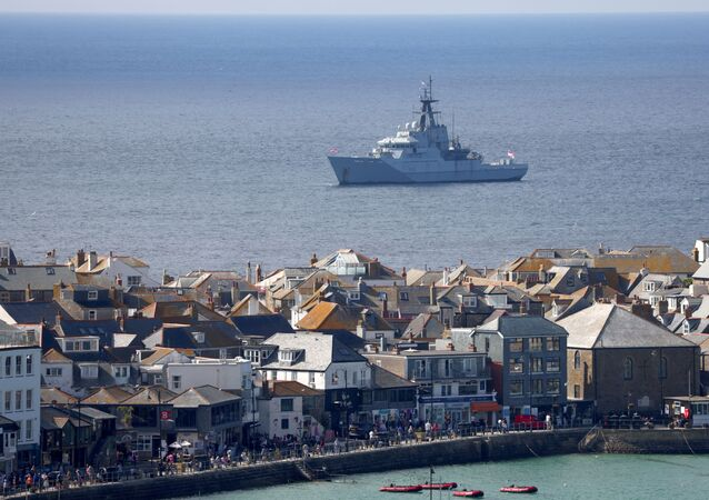 Royal Navy vessel sails near Carbis Bay ahead of the G7 summit, Cornwall, Britain, June 8, 2021.