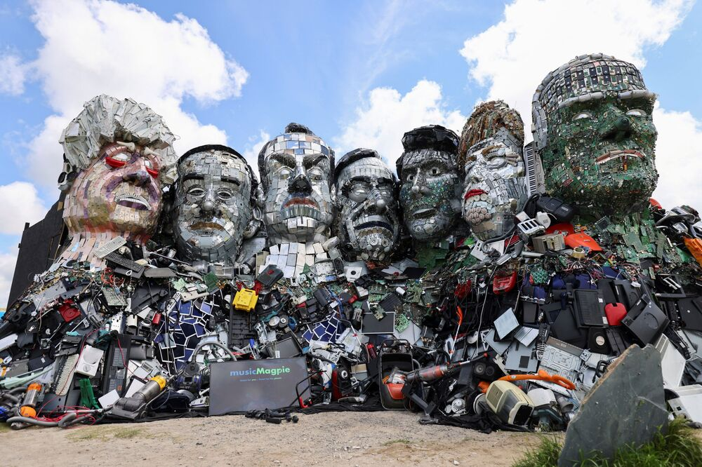 A general view of 'Mount Recyclemore', an artwork depicting the G7 leaders looking towards Carbis Bay in Cornwall, made from electronic waste by Joe Rush and Alex Wreckage.