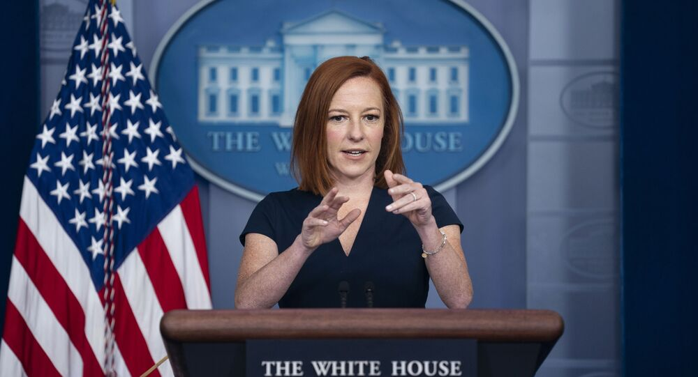 White House press secretary Jen Psaki speaks during a press briefing at the White House, Tuesday, June 8, 2021, in Washington