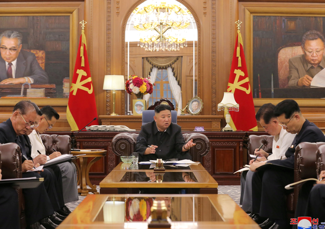 KCNA image of North Korean leader Kim Jong Un at a meeting with senior officials from the Workers' Party of Korea (WPK) Central Committee and Provincial Party Committees in Pyongyang, June 8, 2021.
