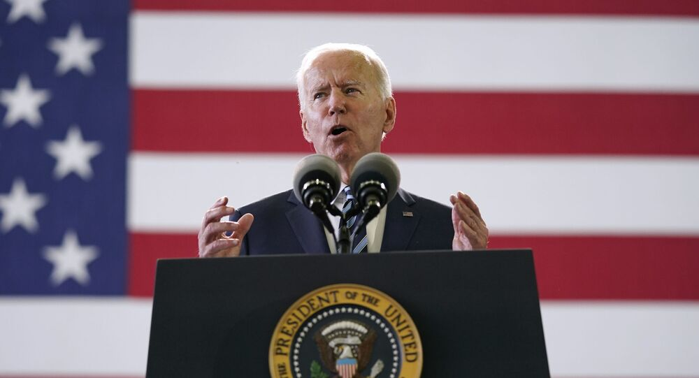 President Joe Biden speaks to American service members at RAF Mildenhall in Suffolk, England, Wednesday, June 9, 2021.
