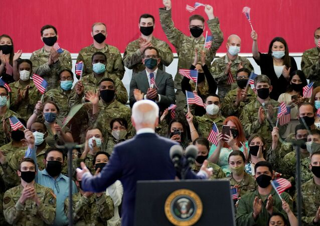 U.S. President Joe Biden delivers remarks to U.S. Air Force personnel and their families stationed at  RAF Mildenhall, ahead of the G7 Summit, near Mildenhall, Britain June 9, 2021.