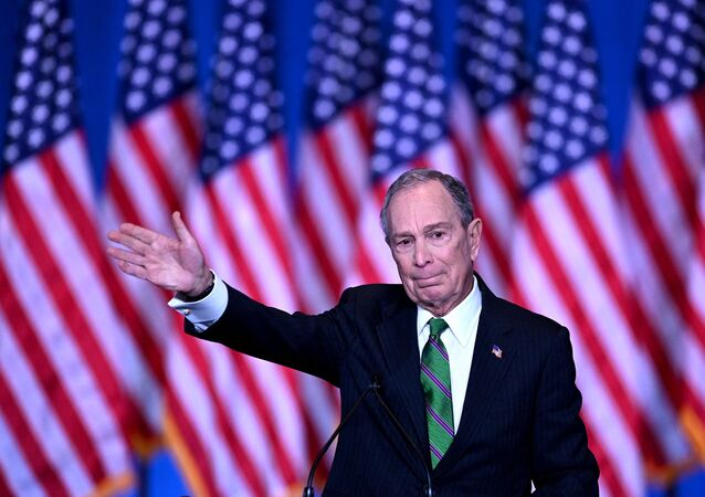Former democratic presidential candidate and former New York City mayor Mike Bloomberg speaks to supporters and staff on March 4, 2020 in New York City.