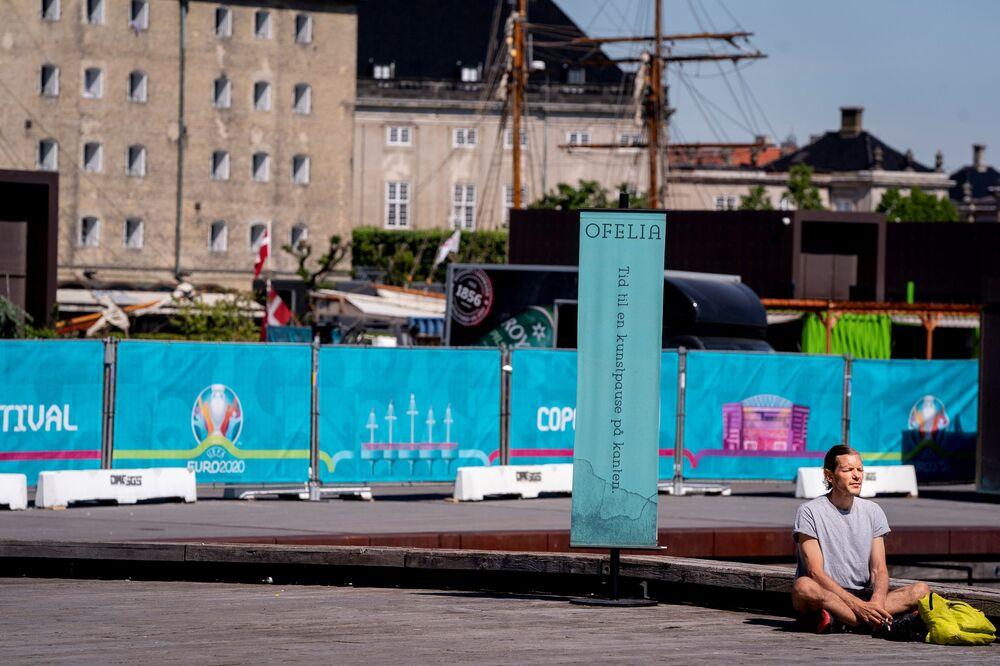 The UEFA European Championship Football Village being built on Ofelia Beach in Copenhagen, Denmark.