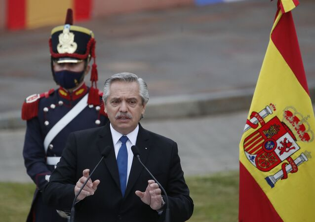 Argentina's President Alberto Fernandez speaks during a news conference with Spain's Prime Minister Pedro Sanchez outside La Casa Rosada during Sanchez's one-day visit to Buenos Aires, Argentina, 9 June 2021