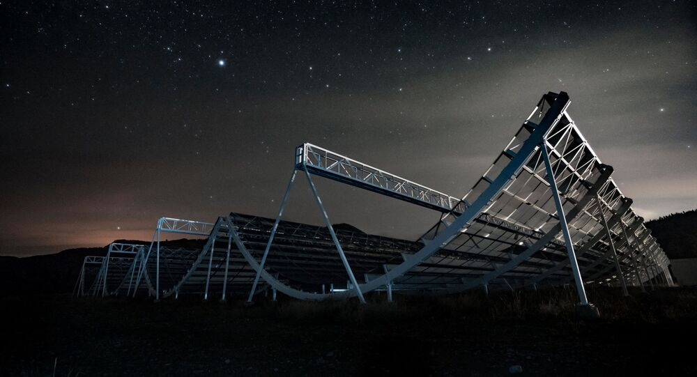 This handout picture taken on November 3, 2016 and released by CHIME Collaboration on November 4, 2020 shows the CHIME Telescope, located at the Dominion Radio Astrophysical Observatory, a national facility for astronomy operated by the National Research Council of Canada