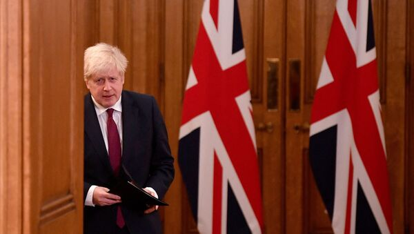 Britain's Prime Minister Boris Johnson walks past union flags as he arrives to attend a virtual press conference inside 10 Downing Street in central London on December 19, 2020. - Sputnik International