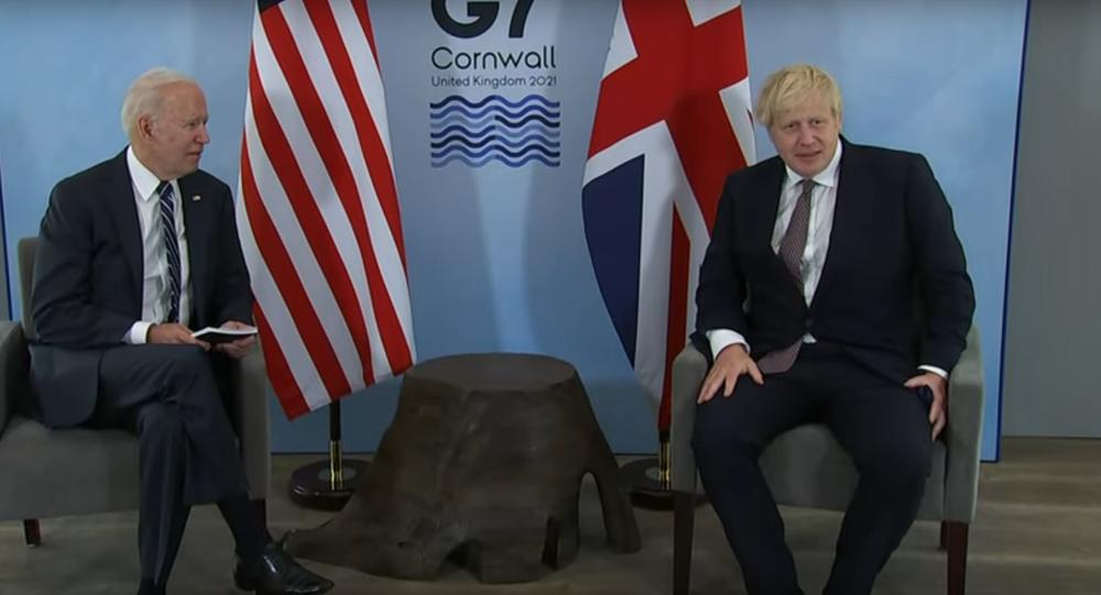 US President Joe Biden and British Prime Minister Boris Johnson meet during Biden's trip to Europe. June 2021.