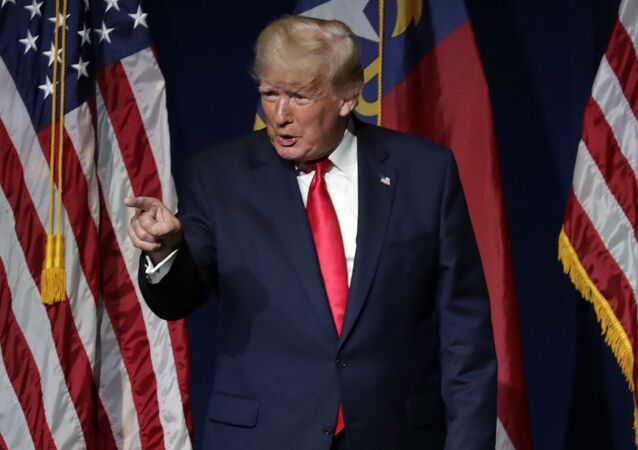Former President Donald Trump acknowledges the crowd before he speaks at the North Carolina Republican Convention Saturday, June 5, 2021, in Greenville, N.C.