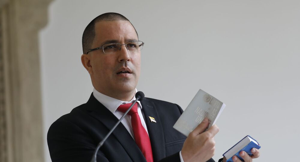 Venezuelan Foreign Minister Jorge Arreaza gives a news conference at his office moments after he met with European Union Ambassador to Venezuela Isabel Brilhante Pedrosa to give her a letter of persona non grata, and giving her 72 hours to leave the country, in Caracas, Venezuela, Wednesday, Feb. 24, 2021.
