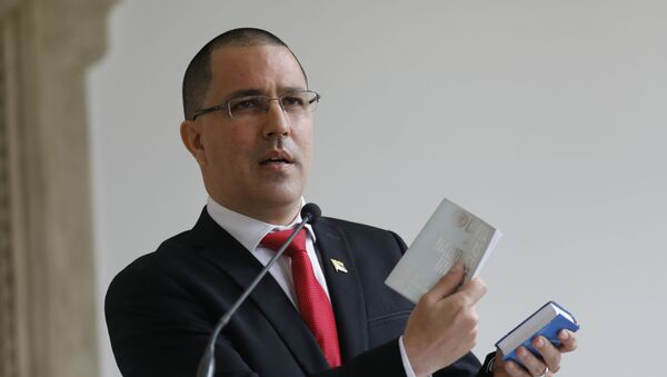Venezuelan Foreign Minister Jorge Arreaza gives a news conference at his office moments after he met with European Union Ambassador to Venezuela Isabel Brilhante Pedrosa to give her a letter of persona non grata, and giving her 72 hours to leave the country, in Caracas, Venezuela, Wednesday, Feb. 24, 2021. - Sputnik International