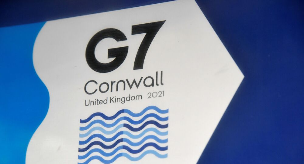 A G7 logo is seen on an information sign near the Carbis Bay hotel resort, where an in-person G7 summit of global leaders is due to take place in June, St Ives, Cornwall, southwest Britain May 24, 2021. Picture taken May 24, 2021