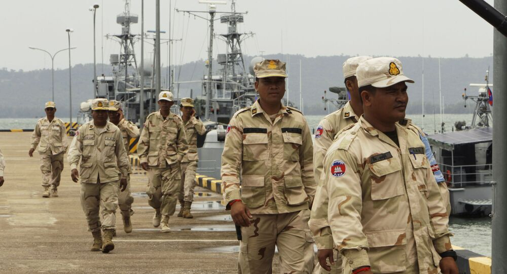 Cambodian navy troops walk at Ream Naval Base in Sihanoukville, south-west of Phnom Penh, Cambodia on 26 July 2019.
