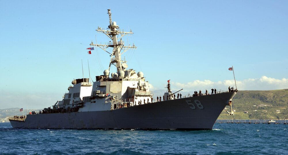In this April 29, 2015 US Navy handout photo, the guided-missile destroyer USS Laboon (DDG 58) arrives in Souda Bay, Greece on April 29, 2015 for a scheduled port visit.
