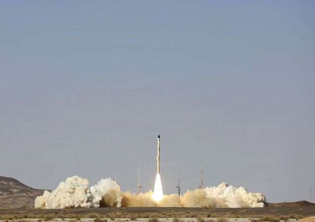 This picture released by the official website of the Iranian Defense Ministry on Monday, Feb. 1, 2021, shows the launch of Iran's newest satellite-carrier rocket, called Zuljanah, at an undisclosed location, Iran.