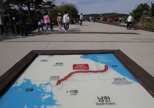A map of two Koreas showing the Demilitarized Zone with North Korea's capital Pyongyang and South Korea's capital Seoul is seen at the Imjingak Pavilion in Paju, South Korea, Sunday, Oct. 11, 2020